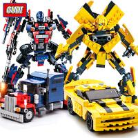 擎天柱大黄蜂6-8岁男孩儿童拼装玩具变形金刚机器人积木汽车