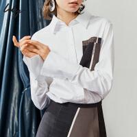 【限时一口价599元】全场叠加100元券 Lily2019秋新款女装气质拼接格子口袋宽松中长款衬衫119330C429