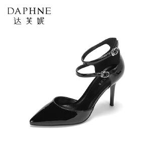 Daphne/达芙妮 春夏简约玛丽珍鞋 时尚尖头一字扣细跟通勤单鞋