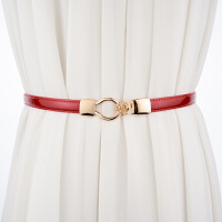 韩版百搭女士漆皮细腰带 配裙子OL亮皮装饰皮带女 窄款甜美腰链