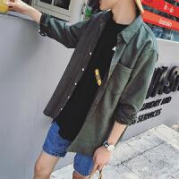 港风春季新款纯色休闲长袖衬衫男士韩版青少年宽松帅气衬衣衬衫潮