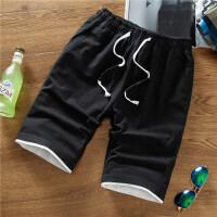 夏季仿棉麻亚麻短裤男士韩版直筒休闲裤子百搭修身马裤纯色沙滩裤 黑色 637