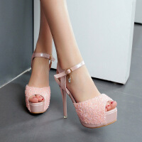 超高跟细跟凉鞋夏夜店12cm防水台性感水钻鱼嘴凉鞋公主女鞋子