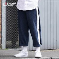 viishow潮牌秋装新款牛仔裤男纯棉牛仔长裤 男士撞色条纹裤子