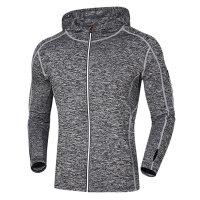 健身服男秋冬跑步外套男运动长袖T恤透气连帽紧身衣加绒上衣