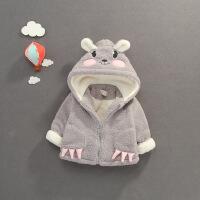 秋冬婴儿羊羔绒外套带帽宝宝小熊耳朵可爱加绒加厚拉链衫上衣服萌