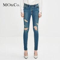 MOCO冬季新品做旧破洞毛须边街头风牛仔裤MA184PAT402 摩安珂