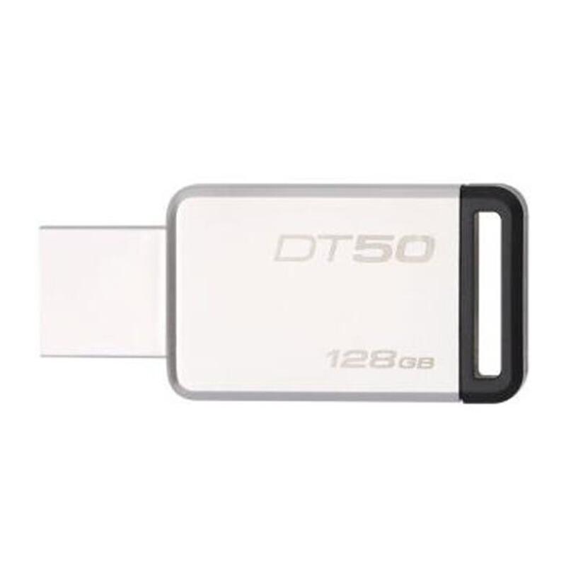 金士顿DT50 128G (DTSE9  DT SE9H  DTSE9G2 升级版)U盘128gb 定制u盘高速USB3.1 DT50不锈钢金属u盘128g刻字优盘 黑色 usb3.1高速度优盘,金属外壳
