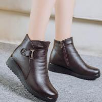 妈妈棉鞋秋冬真皮短靴大码女棉靴保暖中老年防滑奶奶鞋软底工作鞋
