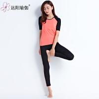 服春夏新款五分短袖跑步套装运动健身瑜珈舞蹈服女 C50Y2-7408西瓜红配黑色两件套+胸垫