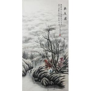 活画泰斗 国礼艺术家吴增 听鱼图 树叶四季变色 夜显财神