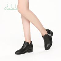 shoebox鞋柜冬杜拉拉粗跟短靴女绒面星星侧拉链中跟靴