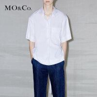 MOCO翻领拼贴口袋个性露腰绑带纯色休闲衬衫MA172SHT105 moco