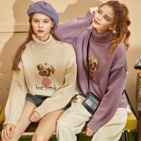[1件2.5折价74.85元]唐狮冬季新款毛衣女高领宽松外穿粗线针织毛线衣韩版百搭学生