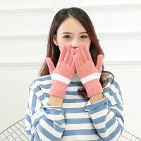 手套女冬可爱甜美学生毛线针织秋冬季薄款简约加绒冬天不触屏