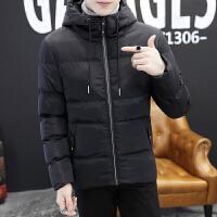 男士棉衣冬季外套新款韩版潮流冬天衣服帅气棉袄短款羽绒 黑色 M
