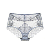 2018新款新款中腰性感蕾丝透明女士诱惑内裤大码包臀三角裤