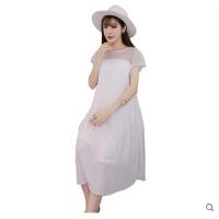 孕妇夏装连衣裙时尚款短袖宽松雪纺长裙怀孕期外出服潮妈