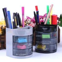 得力笔筒多功能三层创意学生笔筒笔架办公商务时尚笔座桌面收纳盒