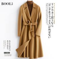 芭�W2019秋冬新款女�L款�^膝�n版系��修身羊毛反季毛呢大衣外套