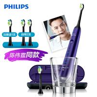 飞利浦 (PHILIPS) 电动牙刷 成人声波震动钻石系列(自带刷头*2+充电旅行盒+充电玻璃杯) 紫钻 HX9372