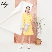 【25折到手价:159元】 Lily春季新款女装宽松天丝衬衫裙长腰带黄色连衣裙女118120C7205