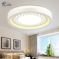 祺家 现代简约 LED卧室吸顶灯阳台客厅餐厅书房过道灯圆形灯具可调光 IX19