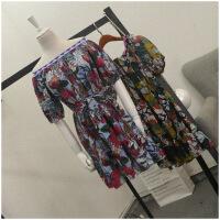 夏季新品收腰薄款短袖大�A�I花色�B衣裙女24460