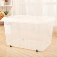 塑料整理箱衣服收纳箱 特大号有盖衣物储物箱滑轮家用加厚带轮