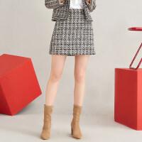 红袖/HOPESHOW拼接撞色边格纹A字短裙