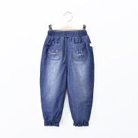 儿童牛仔裤加绒加厚保暖春装2018新款韩版女宝宝裤子