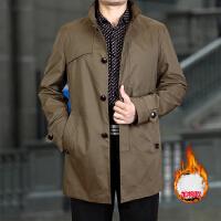 中老年人男装中长款立领风衣男士加厚外套中年爸爸装冬季休闲风衣