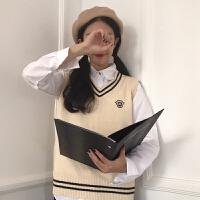春秋女装韩版英伦风徽章V领套头无袖针织衫宽松百搭学生马甲外套