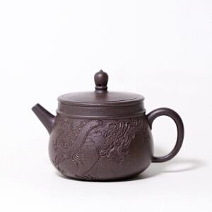 【悟道】 高级工艺美术师 周小明 黑朱泥 220cc 正宗紫砂壶
