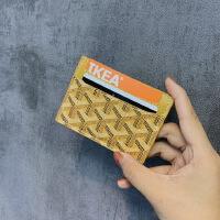 明星同款狗牙卡包�p面超薄印花卡片包男女通用卡套卡�A零�X包