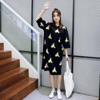欧洲站2016夏季新款宽松大码时尚印花卡通短袖中长款T恤连衣裙女