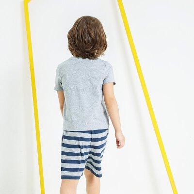 【尾品汇 5折直降】amii童装2017夏季男童休闲套装中大童圆领运动套装简约两件套