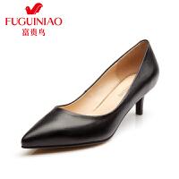 富贵鸟女鞋 夏季新款 女单鞋 中跟 尖头鞋细跟工作鞋女
