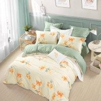 水星家纺全棉印花四件套 秋意静美纯棉床单被套