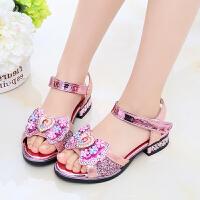 女童凉鞋夏季时尚公主鞋中大童小女孩儿童高跟鞋软底