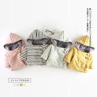 93 冬季新款婴幼儿男女童条纹斜扣小棉衣