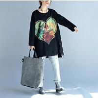 秋季纯棉蝙蝠袖加肥加大女装百搭 爱心圆领卫衣女士长袖打底衫200