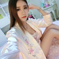16性感长袖真丝睡衣套装女丝绸雪纺家居服蕾丝吊带睡裙可爱
