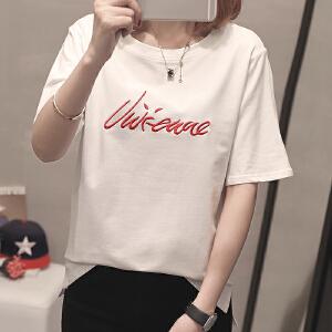 宽松时尚短袖T恤女2018夏季新品韩版宽松显瘦上衣长袖圆领字母刺绣T恤女