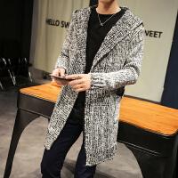 秋季风衣男士中长款大衣针织外套韩版宽松毛衣男装冬季开衫披风潮 灰色 无扣