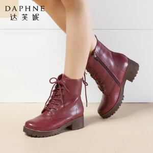 Daphne/达芙妮女鞋冬季新款短靴棉靴粗跟中跟圆头系带保暖马丁靴
