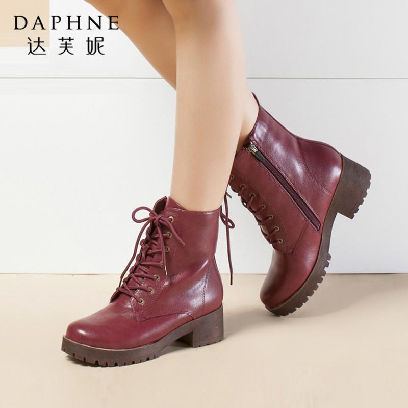 Daphne/达芙妮女鞋冬季新款短靴棉靴粗跟中跟圆头系带保暖马丁靴年末清仓,售罄不补货!