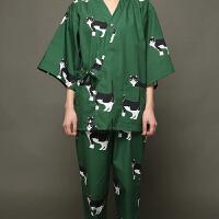 卡通日式睡衣女 春夏纯棉猫咪和服睡衣两件套日系家居服汗蒸套装