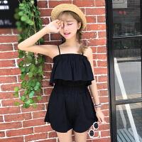 韩版时尚休闲套装夏装女装荷叶边打底吊带上衣+高腰阔腿裤两件套