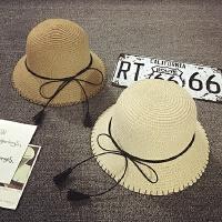 儿童草帽夏天沙滩遮阳帽女童盆帽渔夫帽小礼帽出游太阳帽宝宝帽子
